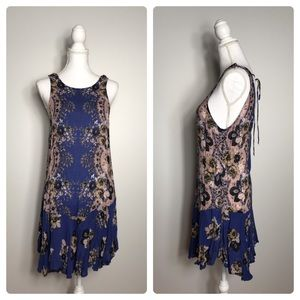 Free People Floral Mini Dress Navy S